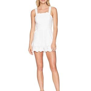 BCBGeneration White Lace Overall Romper